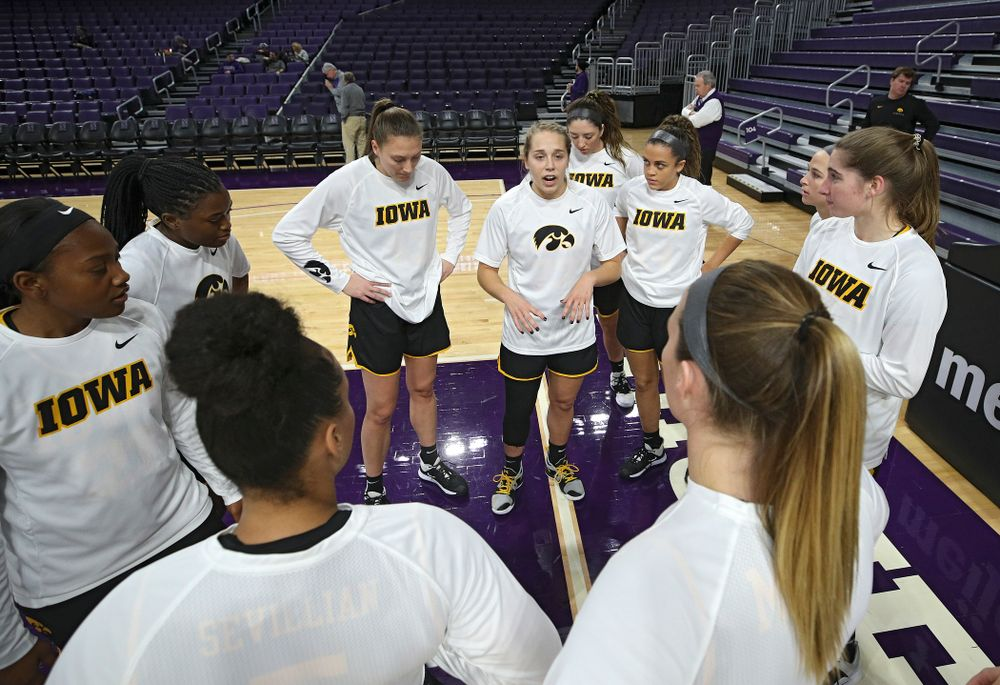 Iowa Hawkeyes guard Kathleen Doyle (22) talks with her team before their game at Welsh-Ryan Arena in Evanston, Ill. on Sunday, January 5, 2020. (Stephen Mally/hawkeyesports.com)