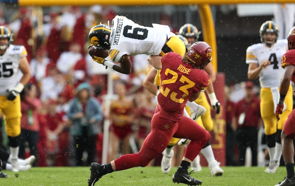 Iowa Hawkeyes wide receiver Ihmir Smith-Marsette (6) makes a catch for a first down against the Iowa State Cyclones Saturday, September 14, 2019 at Jack Trice Stadium in Ames, Iowa. (Brian Ray/hawkeyesports.com)