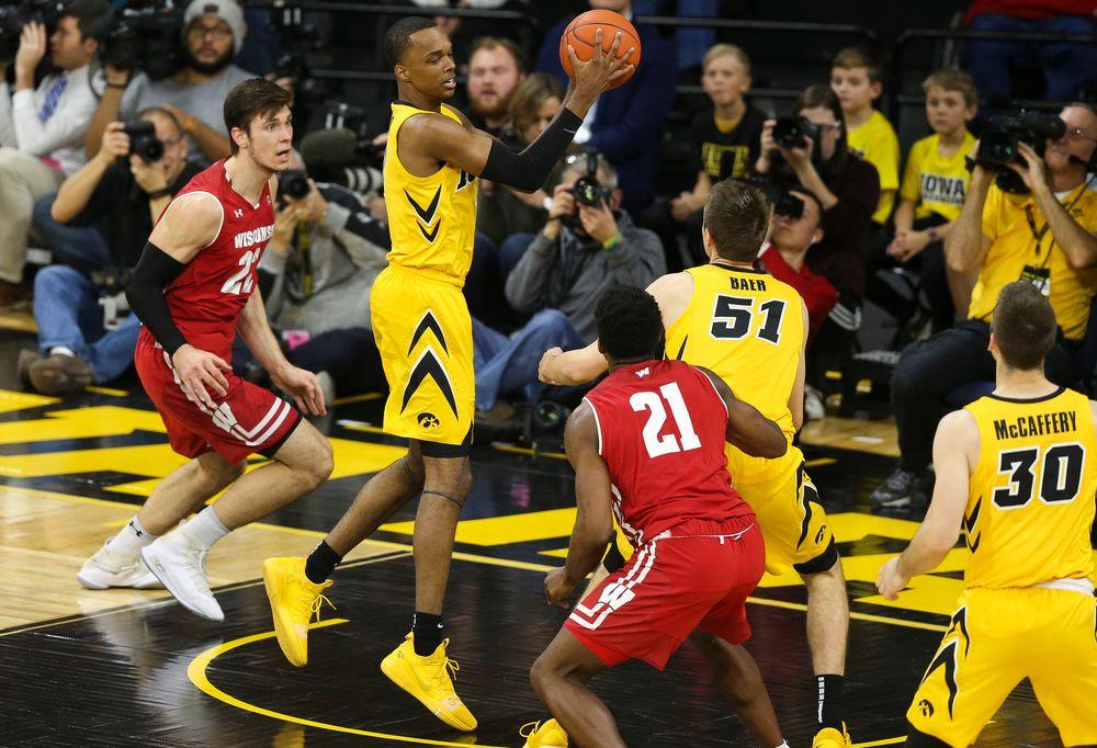 Iowa Hawkeyes guard Maishe Dailey (1) grabs the rebound against Wisconsin on November 30, 2018 at Carver-Hawkeye Arena. (Tork Mason/hawkeyesports.com)