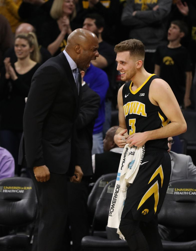 Iowa Hawkeyes guard Jordan Bohannon (3) and assistant coach Andrew Francis against the Indiana Hoosiers Friday, February 22, 2019 at Carver-Hawkeye Arena. (Brian Ray/hawkeyesports.com)