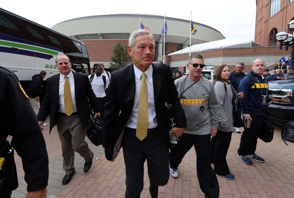 Iowa Hawkeyes head coach Kirk Ferentz arrives for their game against the Michigan Wolverines Saturday, October 5, 2019 at Michigan Stadium in Ann Arbor, MI. (Brian Ray/hawkeyesports.com)