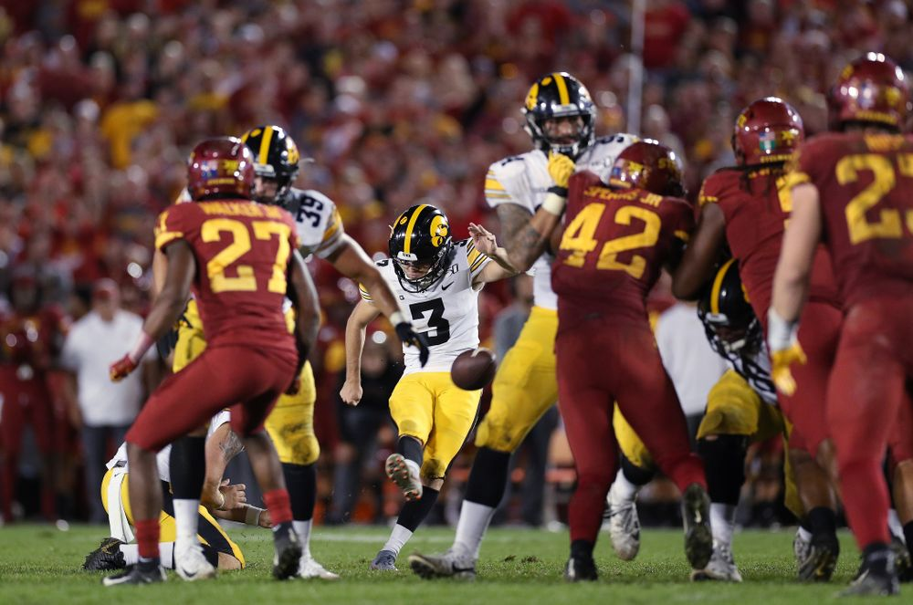 Iowa Hawkeyes place kicker Keith Duncan (3) kicks a field goal against the Iowa State Cyclones Saturday, September 14, 2019 in Ames, Iowa. (Brian Ray/hawkeyesports.com)