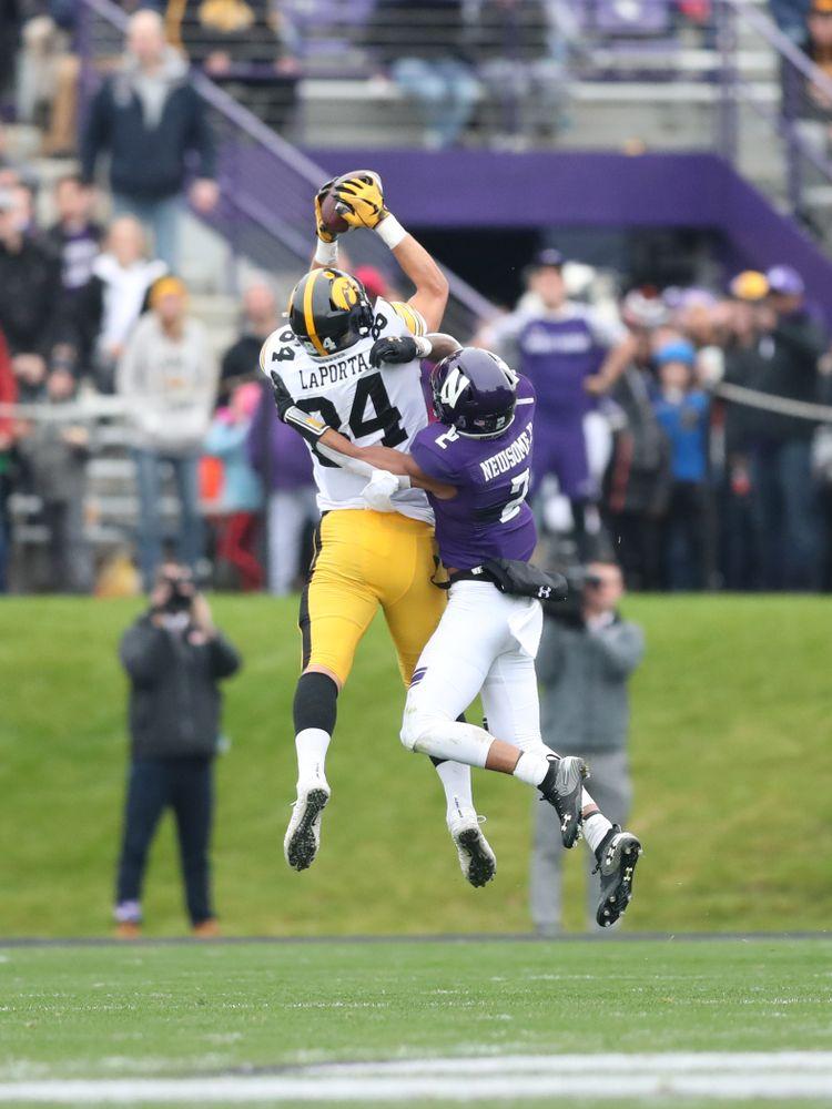 Iowa Hawkeyes tight end Sam LaPorta (84) against the Northwestern Wildcats Saturday, September 28, 2019 at Kinnick Stadium. (Max Allen/hawkeyesports.com)