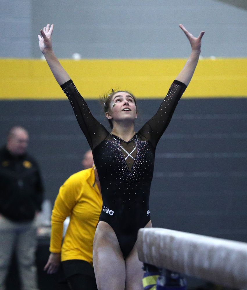 Bridget Killian competes on the beam during the Black and Gold intrasquad meet Saturday, December 1, 2018 at the University of Iowa Field House. (Brian Ray/hawkeyesports.com)