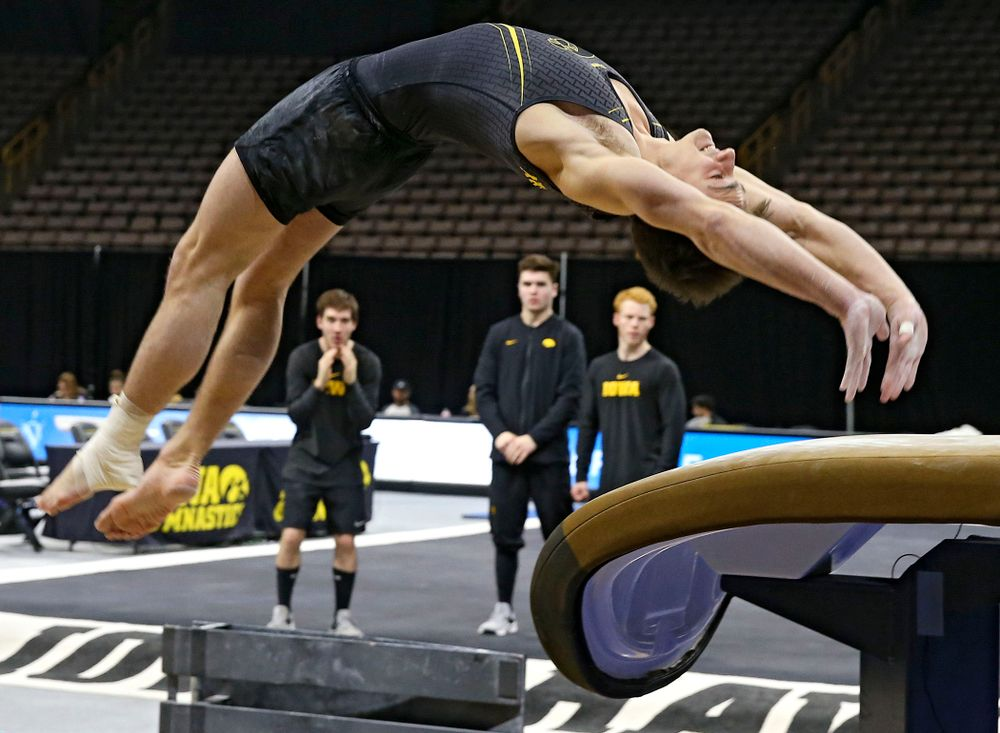 Iowa's Mitch Mandozzi competes in the vault against Ohio State at Caver-Hawkeye Arena in Iowa City on Saturday, Mar. 16, 2019. (Stephen Mally for HawkeyeSports.com)