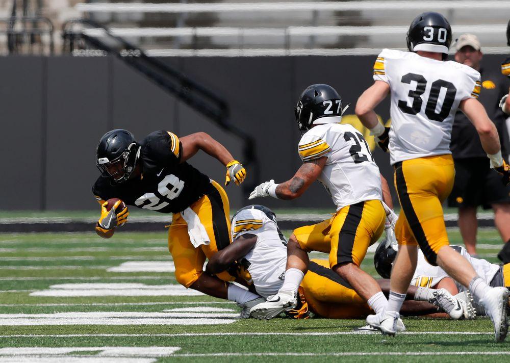 Iowa Hawkeyes running back Toren Young (28) during Kids Day Saturday, August 11, 2018 at Kinnick Stadium. (Brian Ray/hawkeyesports.com)