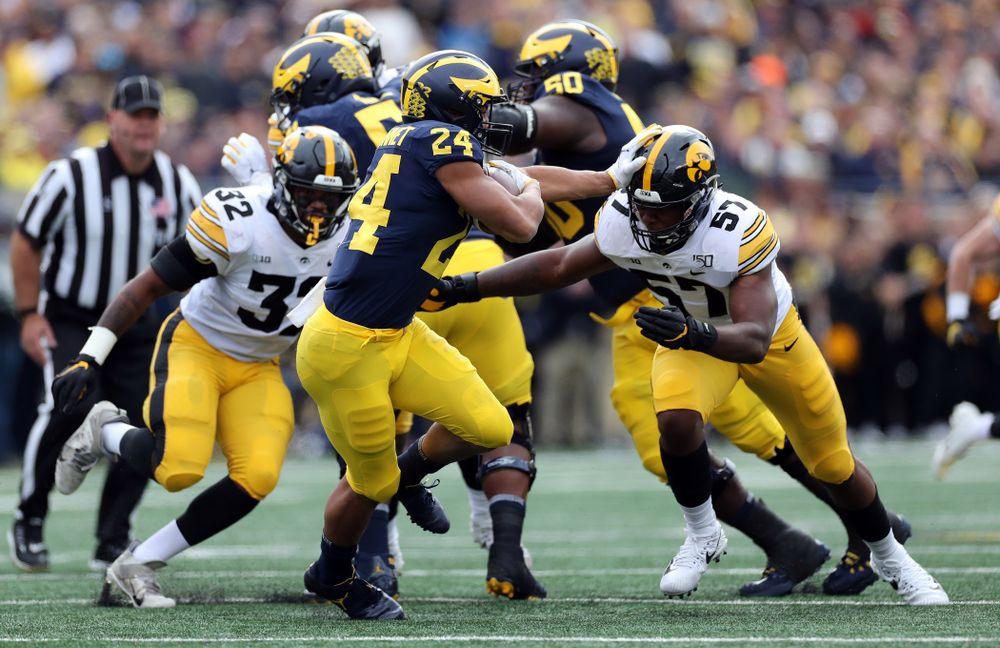 Iowa Hawkeyes defensive end Chauncey Golston (57) against the Michigan Wolverines Saturday, October 5, 2019 at Michigan Stadium in Ann Arbor, MI. (Brian Ray/hawkeyesports.com)