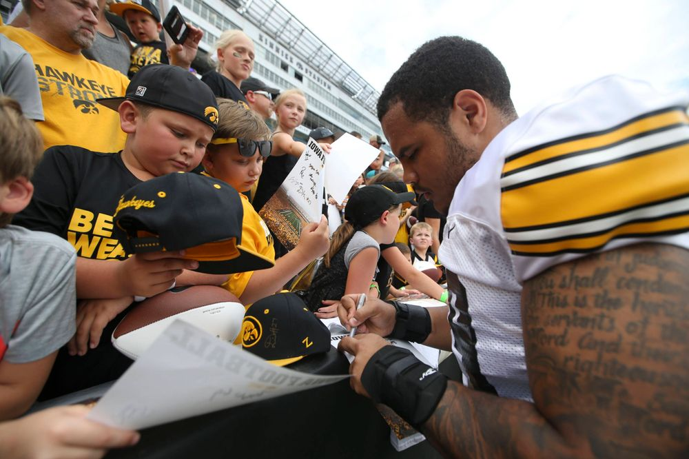 Iowa Hawkeyes defensive lineman Noah Shannon (99) during Kids Day at Kinnick Stadium on Saturday, August 10, 2019. (Lily Smith/hawkeyesports.com)