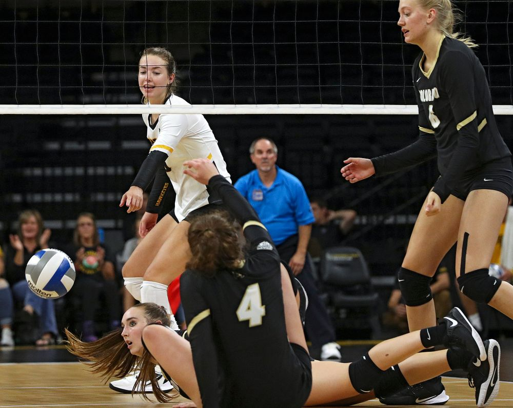 Iowa's Meghan Buzzerio (5) points after blocking a shot during the third set of their Big Ten/Pac-12 Challenge match against Colorado at Carver-Hawkeye Arena in Iowa City on Friday, Sep 6, 2019. (Stephen Mally/hawkeyesports.com)