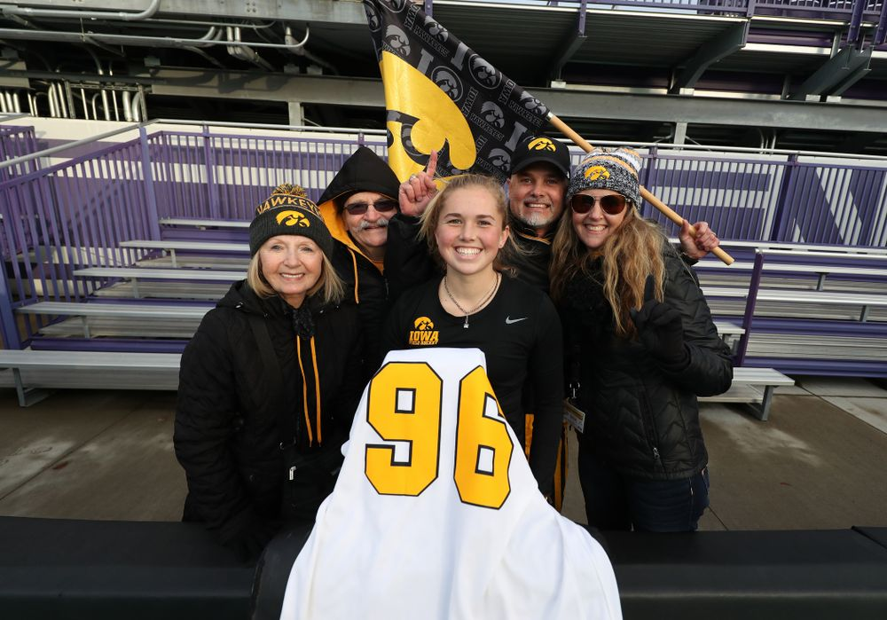 Iowa Hawkeyes Leslie Speight (96) and her family following their game against the Michigan Wolverines in the semi-finals of the Big Ten Tournament Friday, November 2, 2018 at Lakeside Field on the campus of Northwestern University in Evanston, Ill. (Brian Ray/hawkeyesports.com)