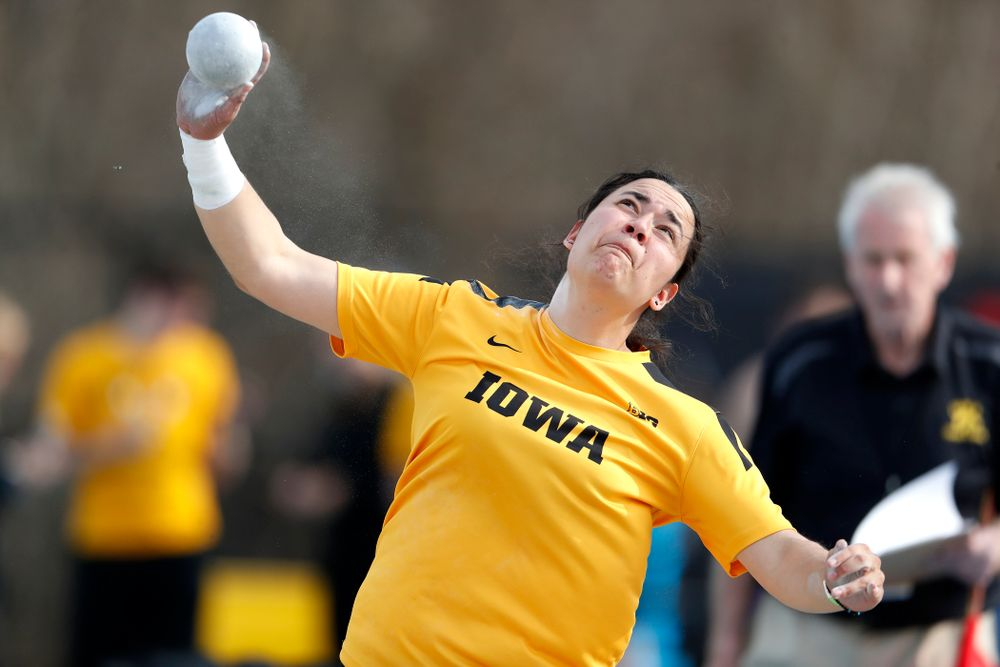 Iowa's Konstadina Spanoudakis competes in the shot put during the 2018 MUSCO Twilight Invitational  Thursday, April 12, 2018 at the Cretzmey