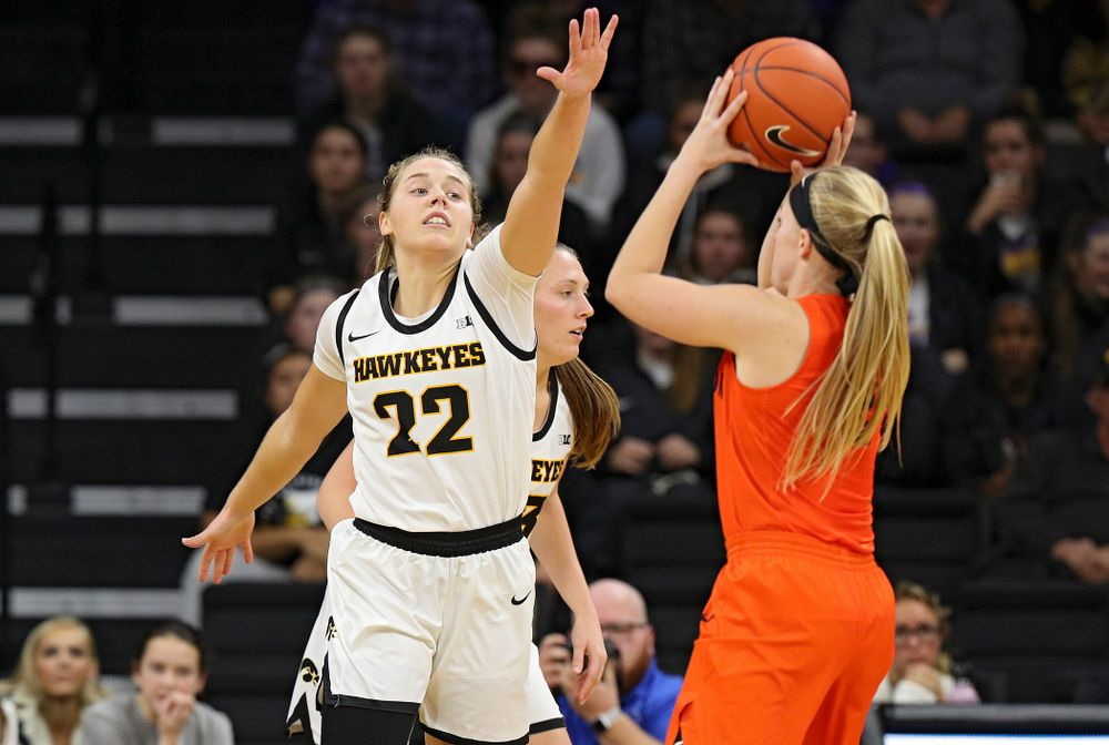 Iowa guard Kathleen Doyle (22) defends during overtime in their win against Princeton at Carver-Hawkeye Arena in Iowa City on Wednesday, Nov 20, 2019. (Stephen Mally/hawkeyesports.com)
