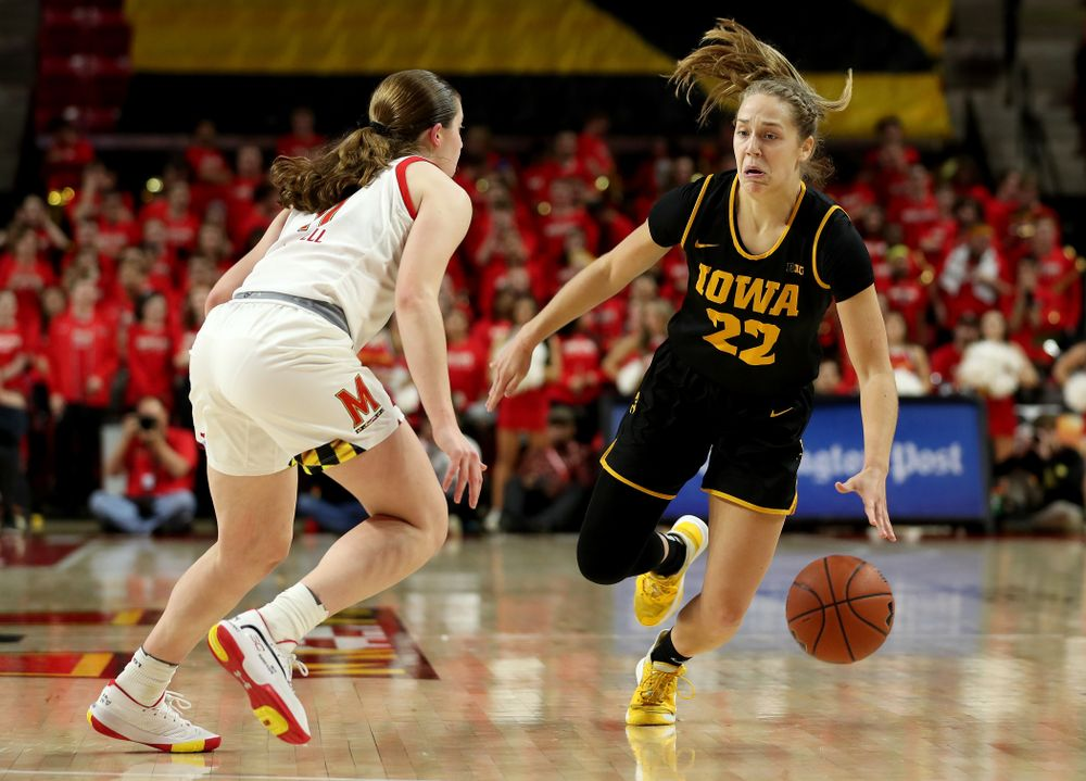 Iowa Hawkeyes guard Kathleen Doyle (22) against the Maryland Terrapins Thursday, February 13, 2020 at the Xfinity Center in College Park, MD. (Brian Ray/hawkeyesports.com)
