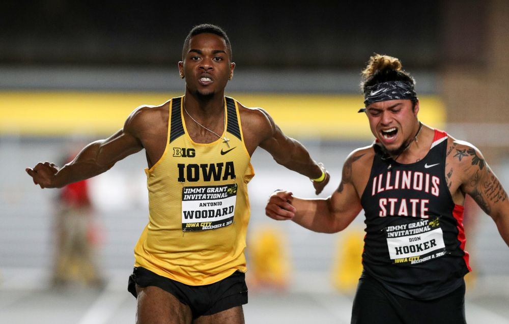 Iowa's Antonio Woddard wins the 60-meter dash during the Jimmy Grant Invitational Saturday, December 8, 2018 at the Recreation Building. (Brian Ray/hawkeyesports.com)