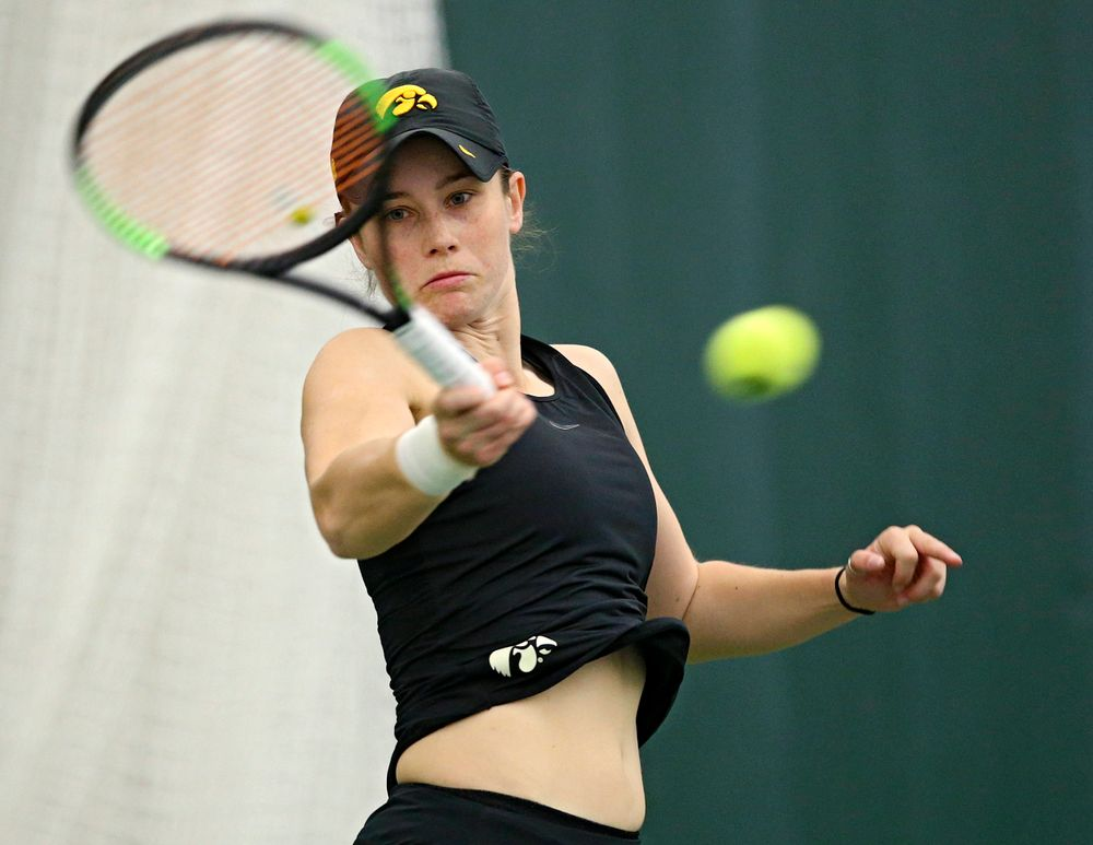 Iowa's Elise van Heuvelen Treadwell during their doubles match against Indiana at the Hawkeye Tennis and Recreation Complex in Iowa City on Sunday, Mar. 31, 2019. (Stephen Mally/hawkeyesports.com)