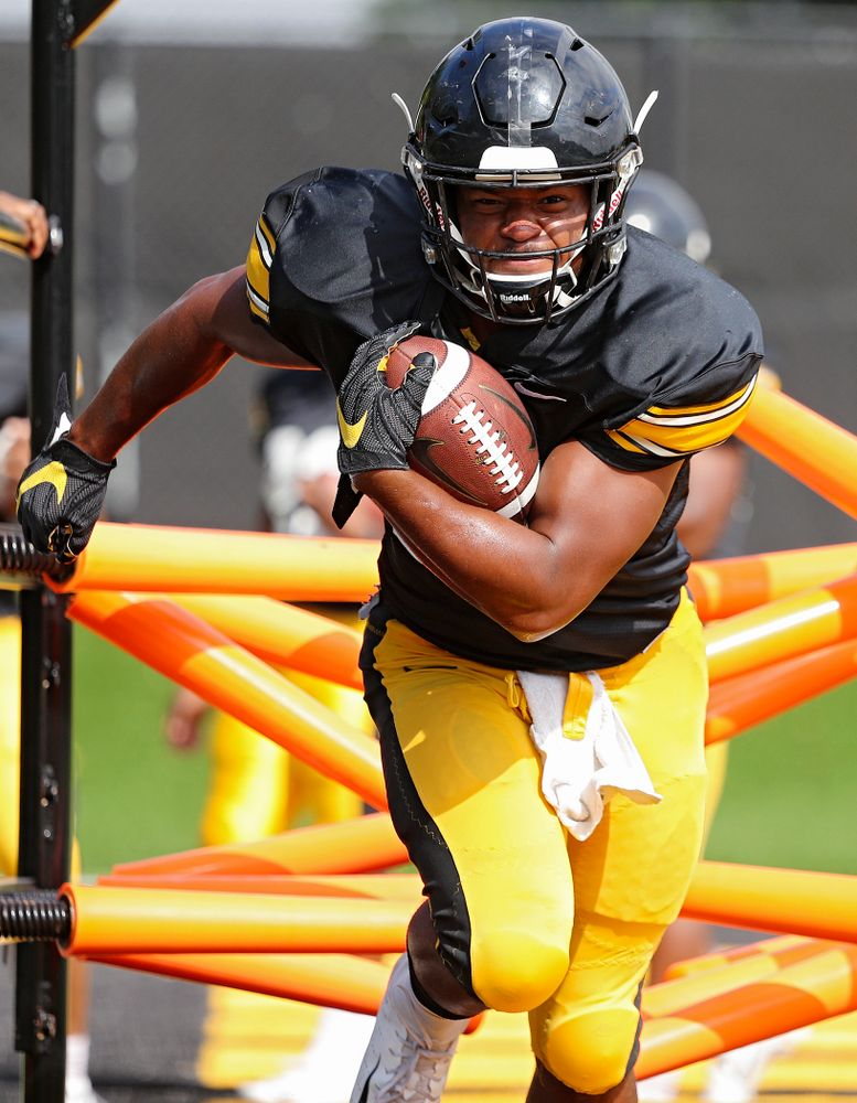 Iowa Hawkeyes running back Ivory Kelly-Martin (21) runs a drill during Fall Camp Practice No. 11 at the Hansen Football Performance Center in Iowa City on Wednesday, Aug 14, 2019. (Stephen Mally/hawkeyesports.com)