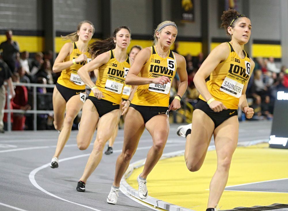 Iowa's Aly Weum runs the women's 600 meter run event during the Jimmy Grant Invitational at the Recreation Building in Iowa City on Saturday, December 14, 2019. (Stephen Mally/hawkeyesports.com)
