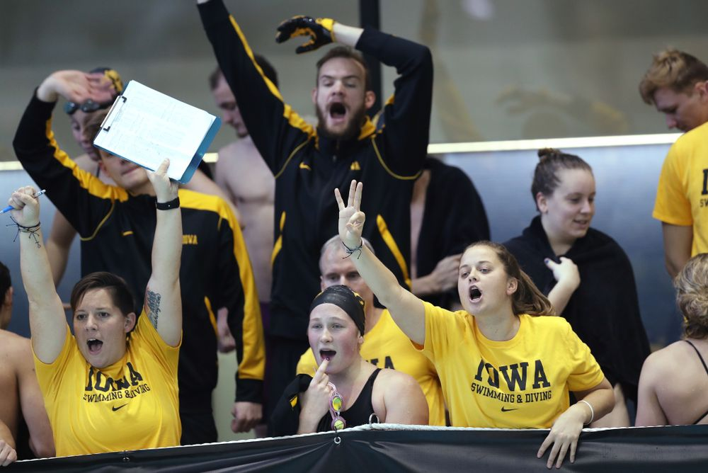 Iowa Hawkeye assistant coaches Sarah Stockwell-Gregson and Ashley Dell Thursday, November 15, 2018 during the 2018 Hawkeye Invitational at the Campus Recreation and Wellness Center. (Brian Ray/hawkeyesports.com)