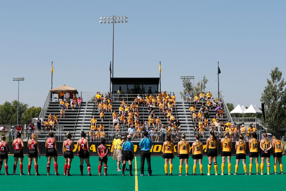 The Iowa Hawkeyes stand for the National Anthem and introductions before their game against Indiana Sunday, September 16, 2018 at Grant Field. (Brian Ray/hawkeyesports.com)