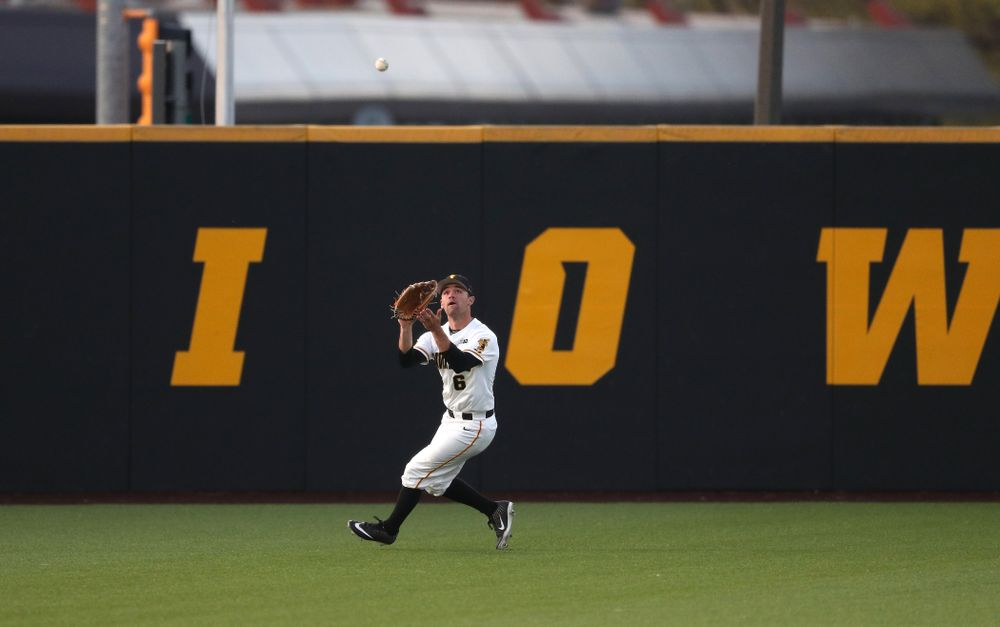 Iowa Hawkeyes outfielder Justin Jenkins (6) during game one against UC Irvine Friday, May 3, 2019 at Duane Banks Field. (Brian Ray/hawkeyesports.com)