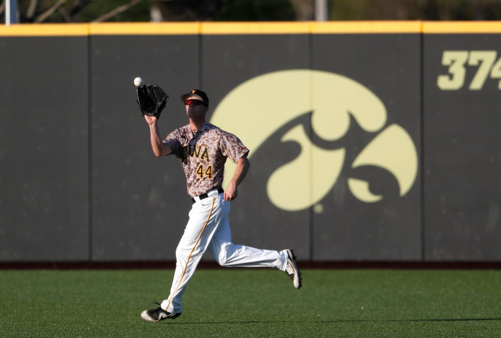 Iowa Hawkeyes outfielder Robert Neustrom (44) against Oklahoma State Friday, May 4, 2018 at Duane Banks Field. (Brian Ray/hawkeyesports.com)