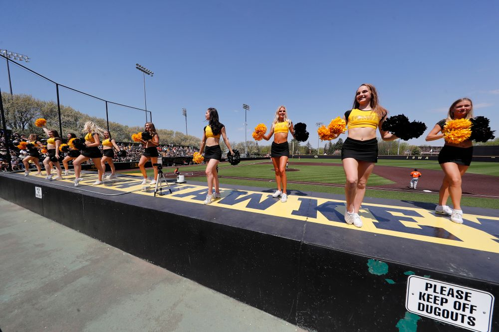 The Iowa Dance Team performs against the Oklahoma State Cowboys Sunday, May 6, 2018 at Duane Banks Field. (Brian Ray/hawkeyesports.com)