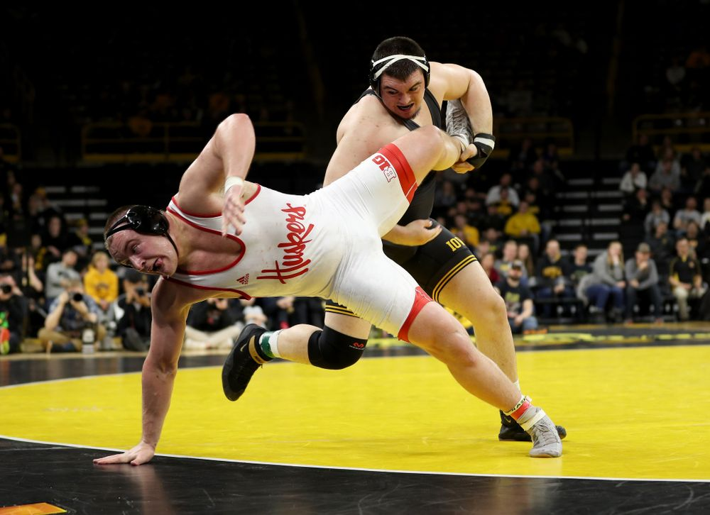 Iowa's Tony Cassioppi wrestles Nebraska's Christian Lance at heavyweight Saturday, January 18, 2020 at Carver-Hawkeye Arena. Cassioppi won the match 6-1. (Brian Ray/hawkeyesports.com)