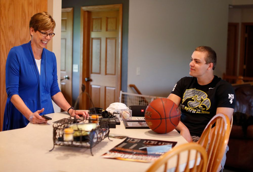 Iowa Hawkeyes quarterback Nathan Stanley (4) talks about some of his childhood memories with his mother Donita  Wednesday, May 30, 2018 in Menomonie, Wisc. (Brian Ray/hawkeyesports.com)