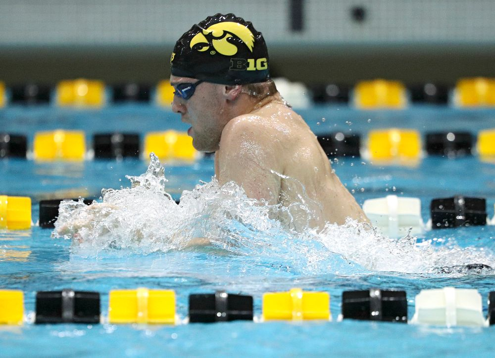 Iowa's Caleb Babb swims the breaststroke section of the 100-yard individual medley event during their meet against Michigan State at the Campus Recreation and Wellness Center in Iowa City on Thursday, Oct 3, 2019. (Stephen Mally/hawkeyesports.com)