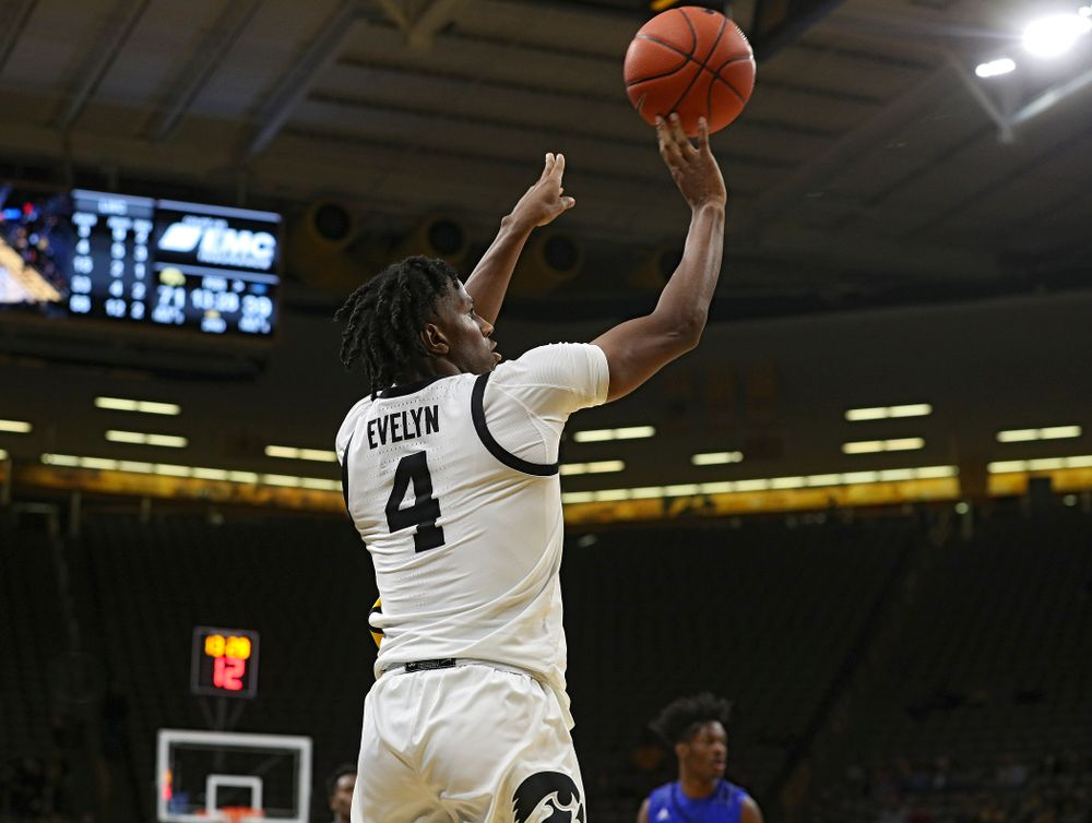 Iowa Hawkeyes guard Bakari Evelyn (4) puts up a shot during the second half of their exhibition game against Lindsey Wilson College at Carver-Hawkeye Arena in Iowa City on Monday, Nov 4, 2019. (Stephen Mally/hawkeyesports.com)