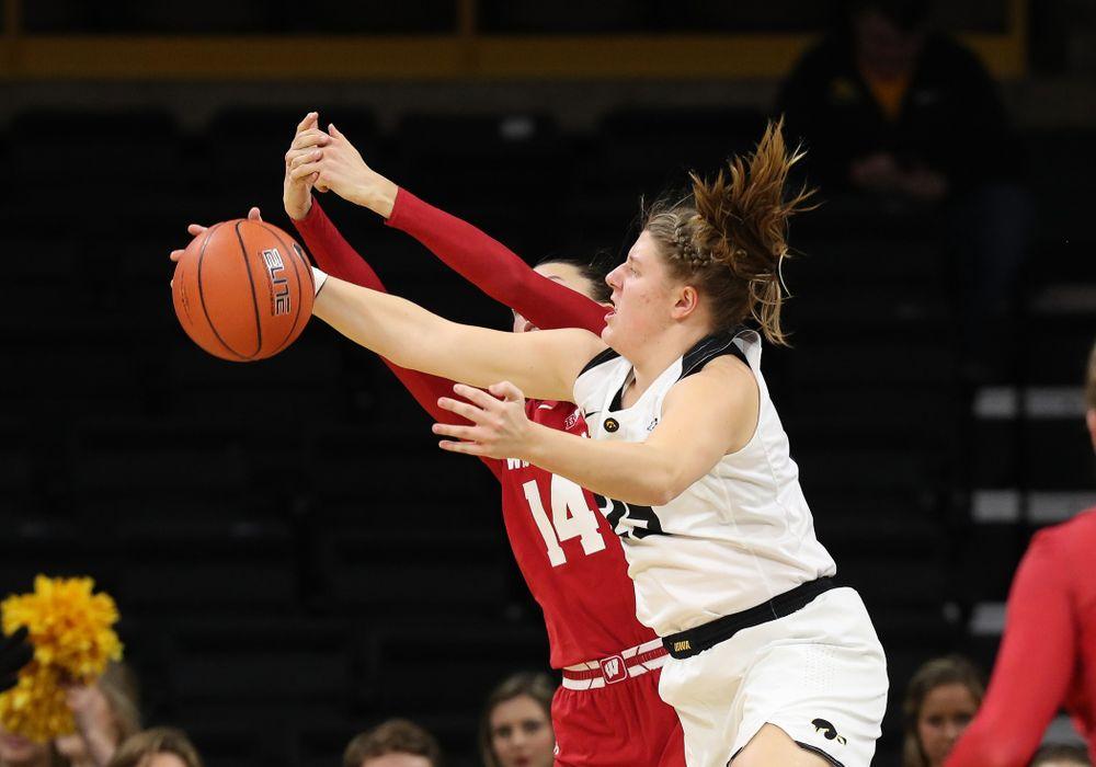Iowa Hawkeyes forward/center Monika Czinano (25) against the Wisconsin Badgers Monday, January 7, 2019 at Carver-Hawkeye Arena.  (Brian Ray/hawkeyesports.com)