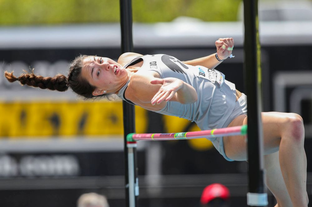 Iowa's Jenny Kimbro during the women's high jump at the Big Ten Outdoor Track and Field Championships at Francis X. Cretzmeyer Track on Friday, May 10, 2019. (Lily Smith/hawkeyesports.com)