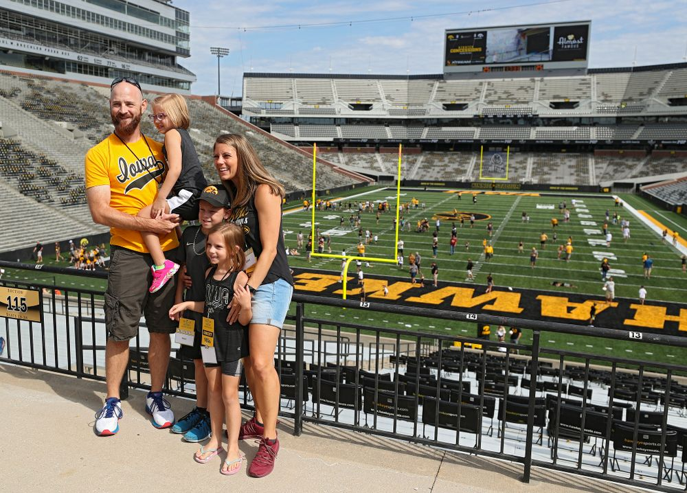 Kid Captain Gabby Yoder and her family during Kids Day at Kinnick Stadium in Iowa City on Saturday, Aug 10, 2019. (Stephen Mally/hawkeyesports.com)