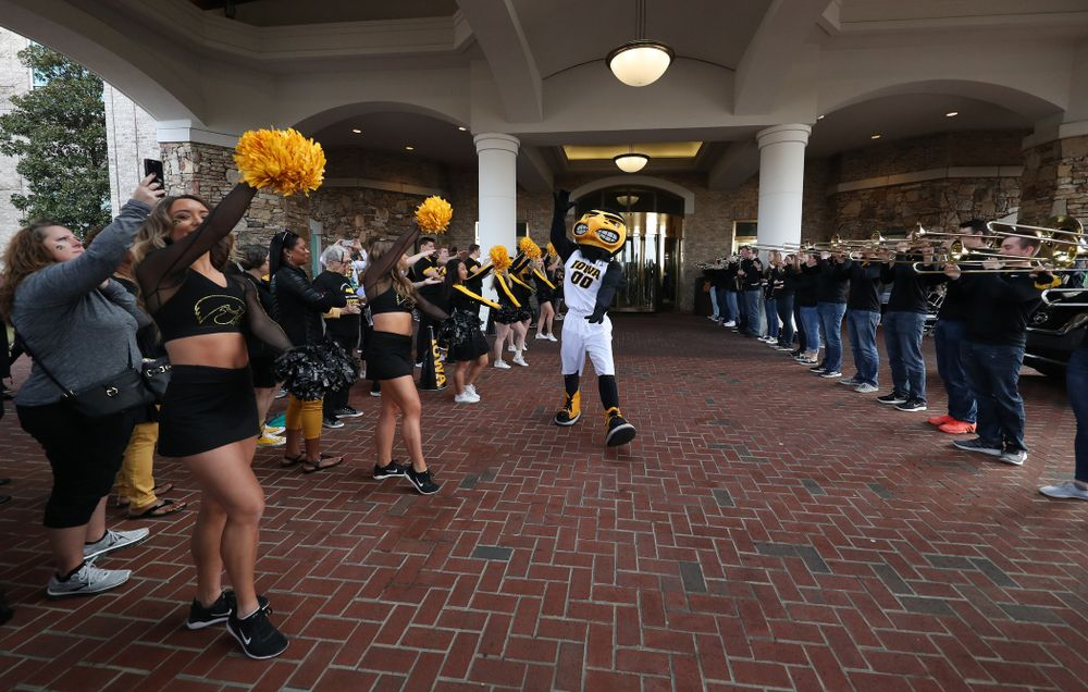 The Iowa Spirit Squad and Pep Band during a send off at the hotel before their game against the NC State Wolfpack in the regional semi-final of the 2019 NCAA Women's College Basketball Tournament Saturday, March 30, 2019 at Greensboro Coliseum in Greensboro, NC.(Brian Ray/hawkeyesports.com)