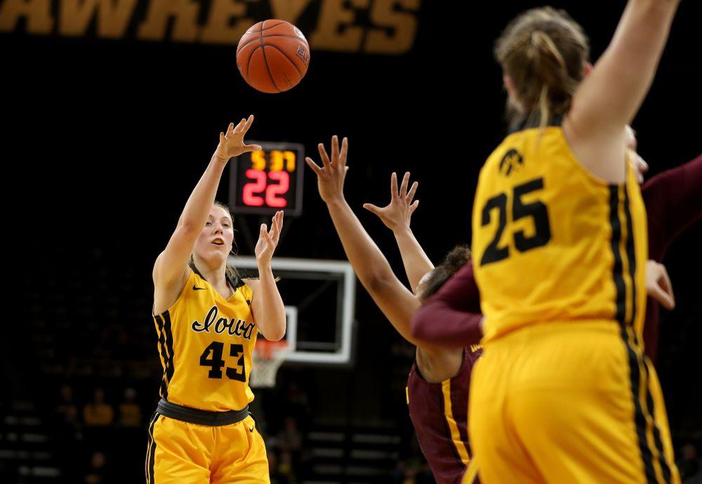 Iowa Hawkeyes forward Amanda Ollinger (43) against the Minnesota Golden Gophers Thursday, February 27, 2020 at Carver-Hawkeye Arena. (Brian Ray/hawkeyesports.com)