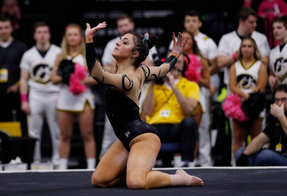 Iowa's Nikki Youd competes on the floor