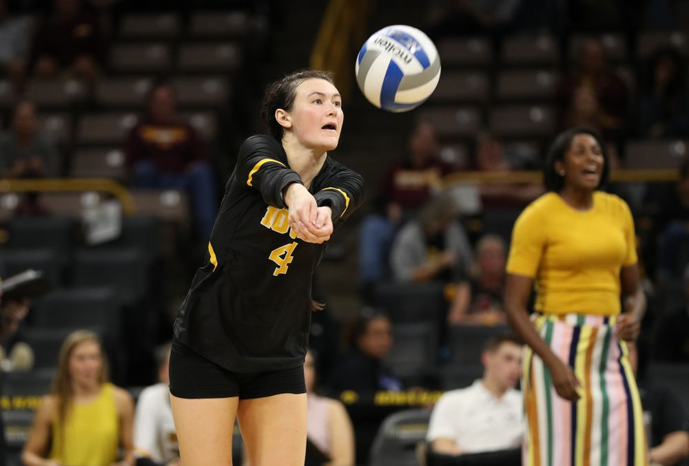 Iowa Hawkeyes defensive specialist Halle Johnston (4) against the Minnesota Golden Gophers Wednesday, October 2, 2019 at Carver-Hawkeye Arena. (Brian Ray/hawkeyesports.com)