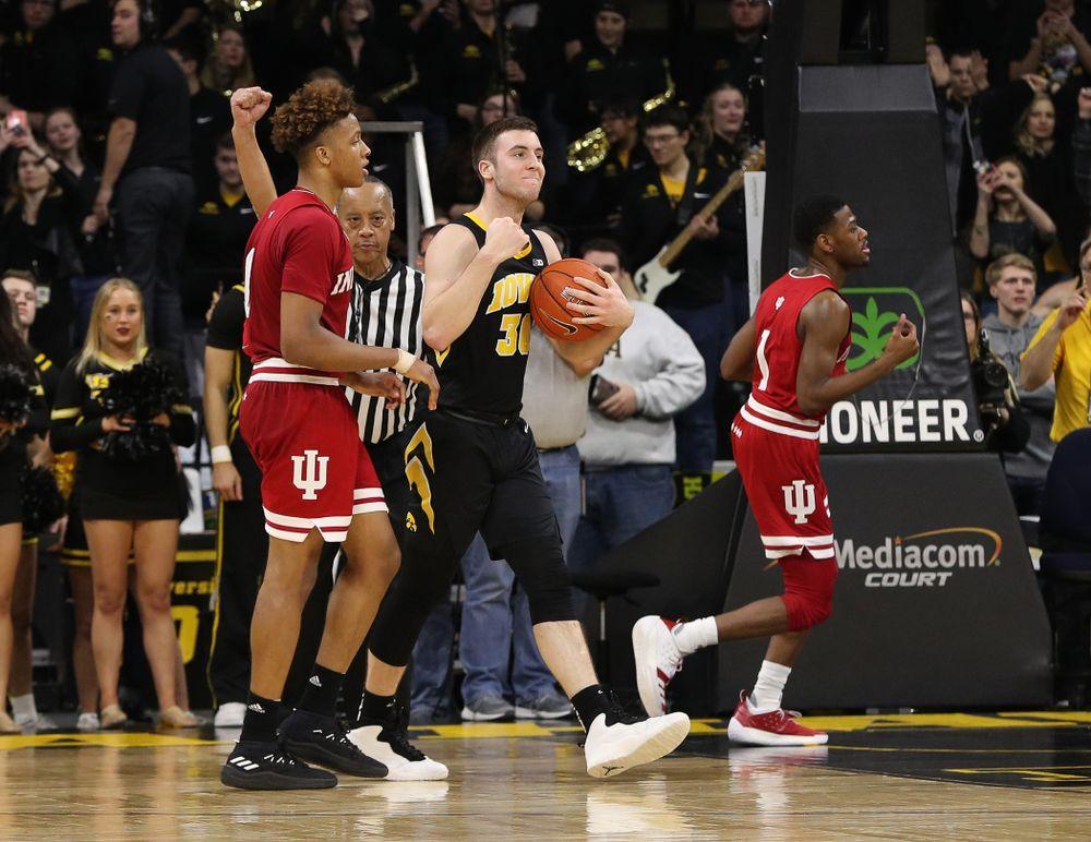 Iowa Hawkeyes guard Connor McCaffery (30) against the Indiana Hoosiers Friday, February 22, 2019 at Carver-Hawkeye Arena. (Brian Ray/hawkeyesports.com)