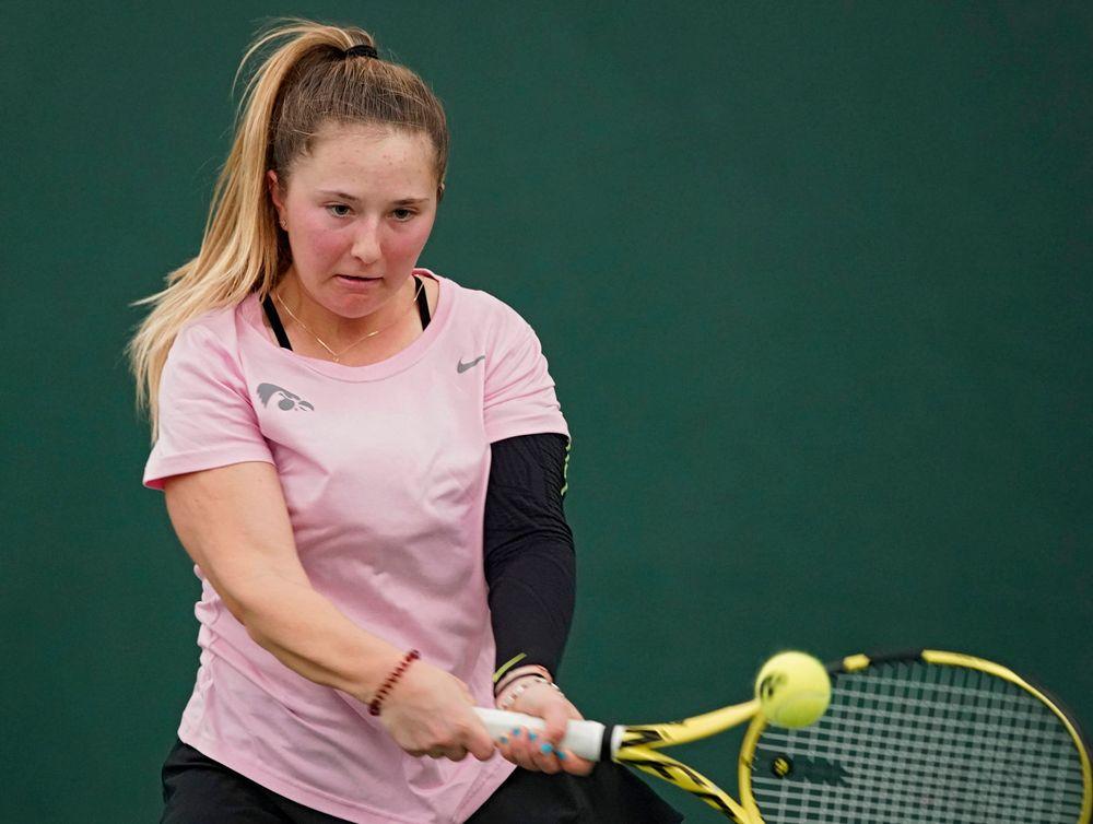 Iowa's Danielle Burich plays a match against Purdue at the Hawkeye Tennis and Recreation Complex in Iowa City on Friday, Mar. 29, 2019. (Stephen Mally/hawkeyesports.com)