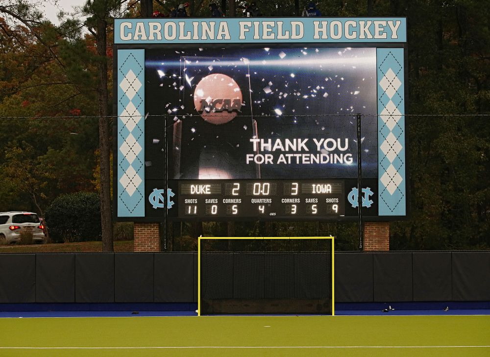 The scoreboard shows the final score of Iowa's NCAA Tournament First Round win against Duke at Karen Shelton Stadium in Chapel Hill, N.C. on Friday, Nov 15, 2019. (Stephen Mally/hawkeyesports.com)