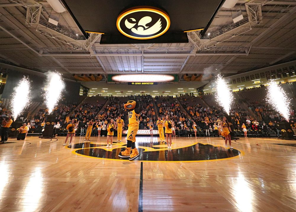 Herky at center court before the game at Carver-Hawkeye Arena in Iowa City on Thursday, January 23, 2020. (Stephen Mally/hawkeyesports.com)