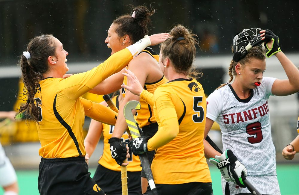 Iowa Hawkeyes defender Anthe Nijziel (6) and Iowa Hawkeyes forward Mya Christopher (18) celebrate after Christopher's goal during a game against Stanford at Grant Field on October 7, 2018. (Tork Mason/hawkeyesports.com)