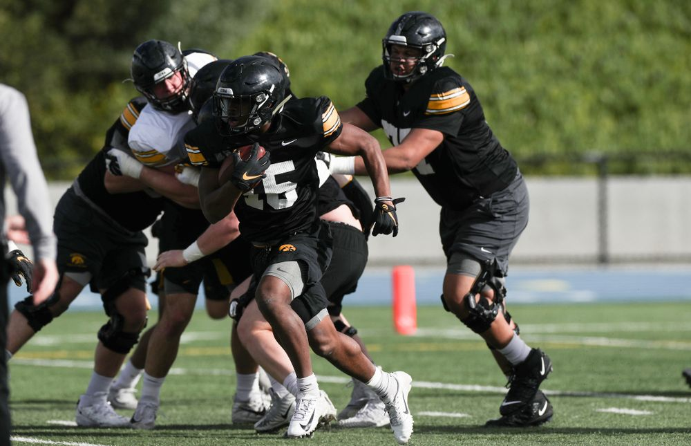 Iowa Hawkeyes running back Tyler Goodson (15) during Holiday Bowl Practice No. 3  Tuesday, December 24, 2019 at San Diego Mesa College. (Brian Ray/hawkeyesports.com)