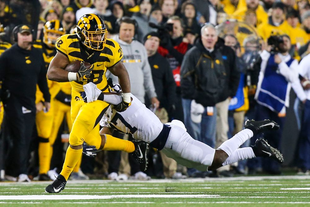 Iowa Hawkeyes running back Toren Young (28) during Iowa football vs Penn State on Saturday, October 12, 2019 at Kinnick Stadium. (Lily Smith/hawkeyesports.com)