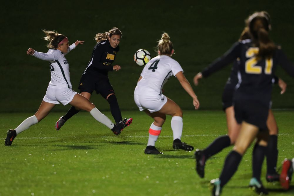 Iowa Hawkeyes forward Rose Ripslinger (15) passes the ball during a game against Michigan State at the Iowa Soccer Complex on October 12, 2018. (Tork Mason/hawkeyesports.com)
