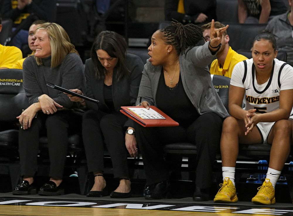 Iowa assistant coach Raina Harmon points during the fourth quarter of their overtime win against Princeton at Carver-Hawkeye Arena in Iowa City on Wednesday, Nov 20, 2019. (Stephen Mally/hawkeyesports.com)