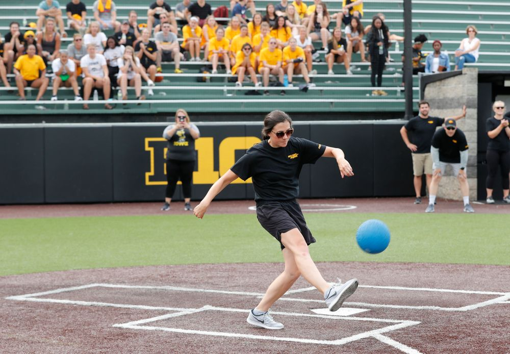 Women's Basketball Director of Operations Kathryn Reynolds during the Iowa Student Athlete Kickoff Kickball game  Sunday, August 19, 2018 at Duane Banks Field. (Brian Ray/hawkeyesports.com)
