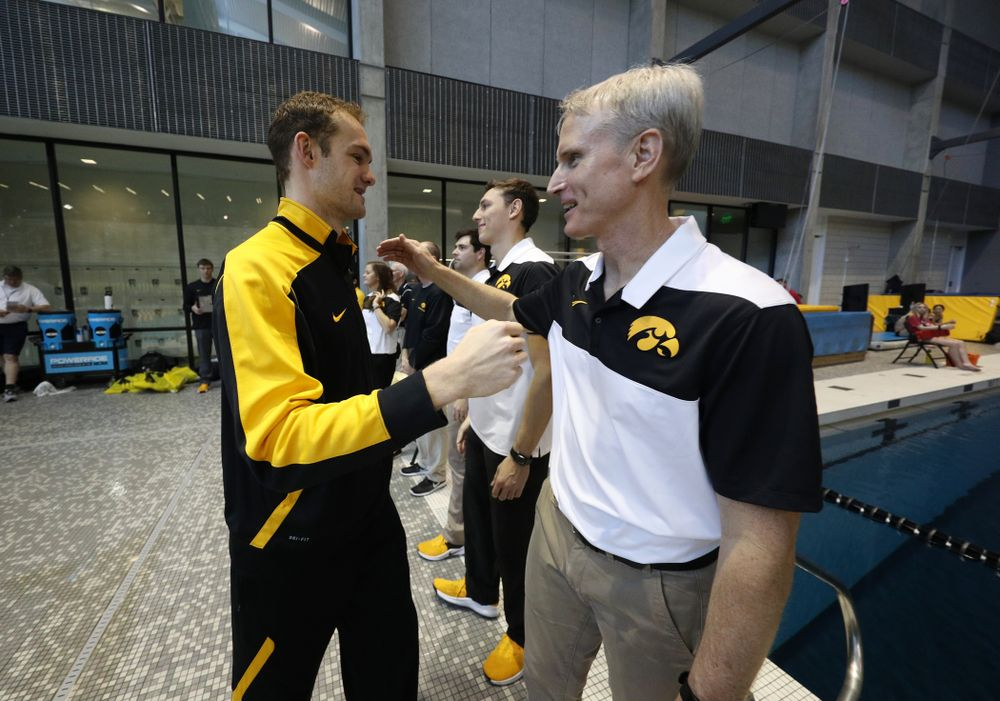 Kenneth Mende is introduced during senior day before a double dual against Wisconsin and Northwestern Saturday, January 19, 2019 at the Campus Recreation and Wellness Center. (Brian Ray/hawkeyesports.com)