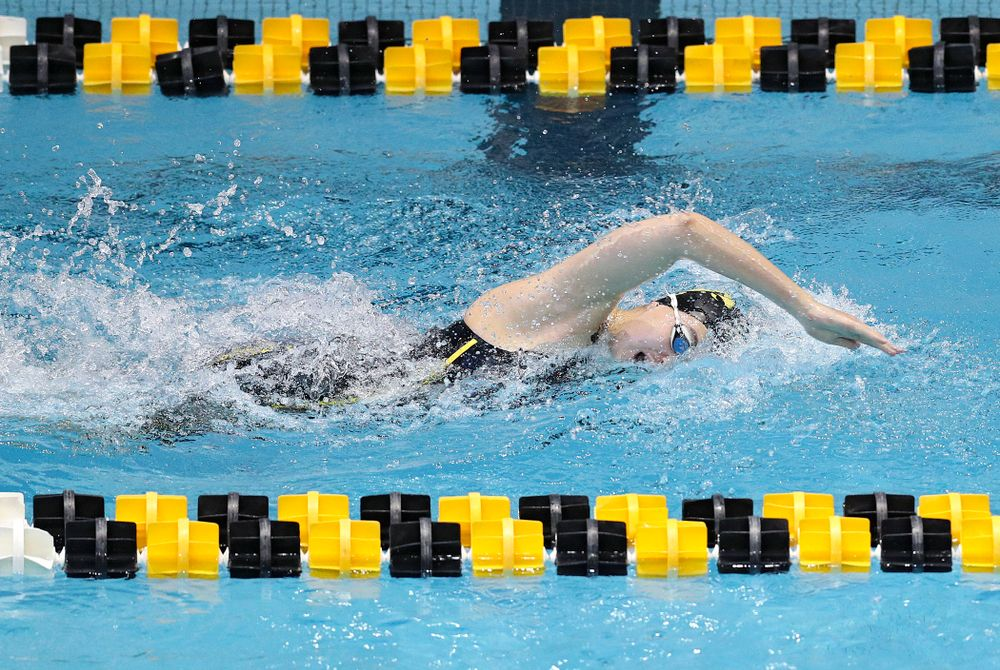 Iowa's Madilyn Ziegert swims the women's 200 yard freestyle preliminary event during the 2020 Women's Big Ten Swimming and Diving Championships at the Campus Recreation and Wellness Center in Iowa City on Friday, February 21, 2020. (Stephen Mally/hawkeyesports.com)