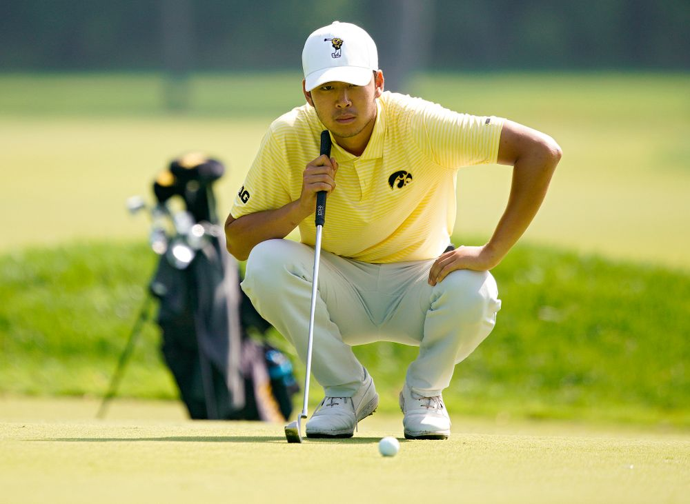 Iowa's Joe Kim lines up a putt during the third day of the Golfweek Conference Challenge at the Cedar Rapids Country Club in Cedar Rapids on Tuesday, Sep 17, 2019. (Stephen Mally/hawkeyesports.com)
